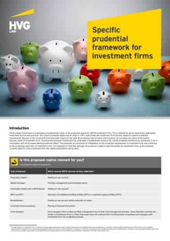 Cover Specific prudential framework for investment firms