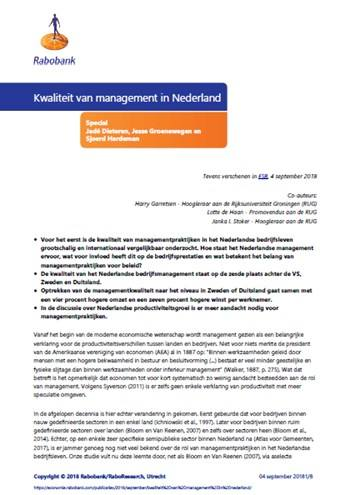 Cover Kwaliteit van management in Nederland